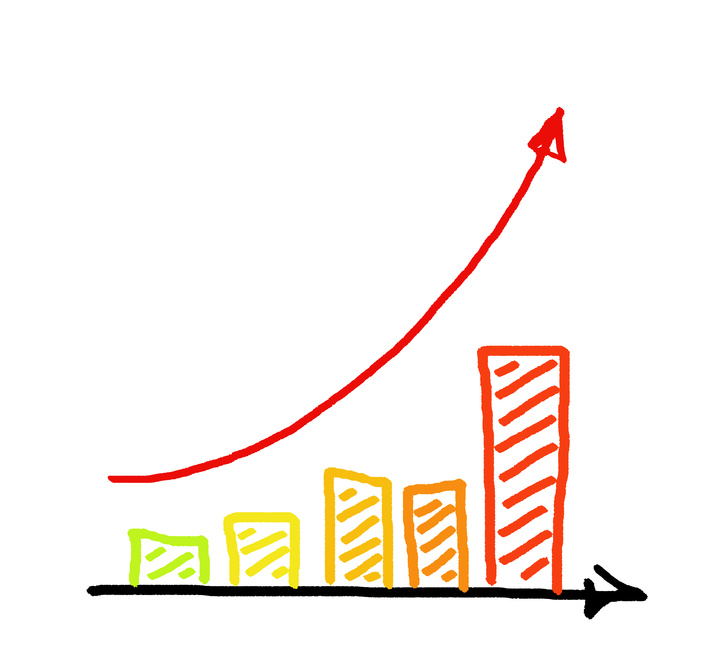 a red arrow business graph hand drawing
